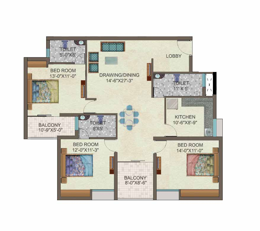 Ideal Properties 3 Bhk Luxury Apartments: 3bhk house plan